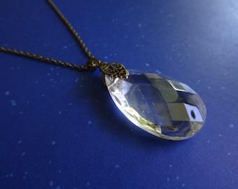 Chandelier Prism Pendant Necklace / Vintage Prism