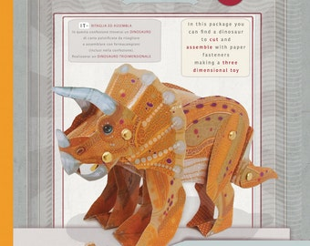 Dinosaur Triceratops Toy, Kids' Craft, laminated paper toy, Make your own Dinosaur
