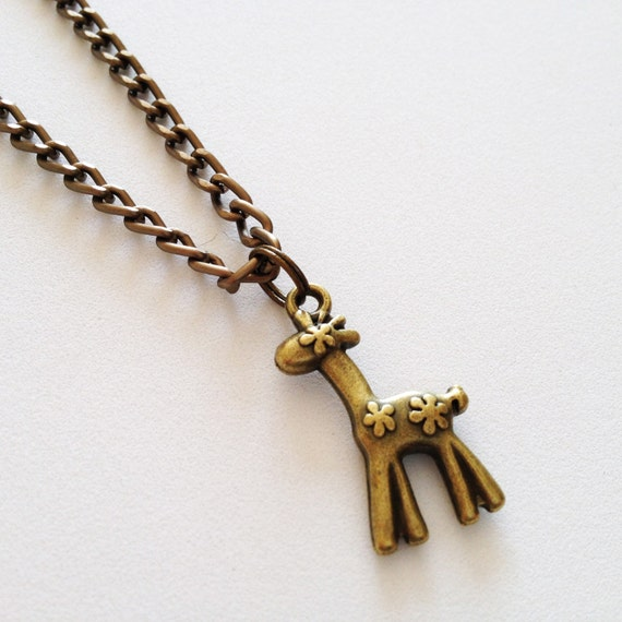 giraffe necklace giraffe pendant charm chain necklace by