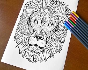 Adult Zentangle Coloring Sheet Lion