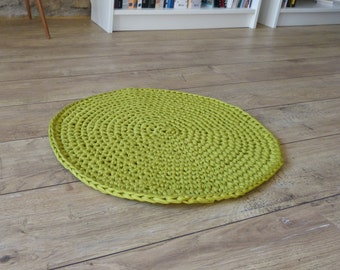 Modern Decoration-Apple green recycled cotton trapilho/zpagetti carpets