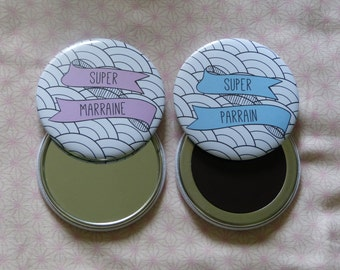 Pack Super godmother/Godfather Pocket mirror round and Magnet 75 mm Japanese Motifs customizable