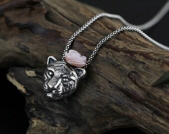 Tiger Rose Pendant Tiger Head Pink Rose Pendant Sterling Silver Pendant Women Pendant