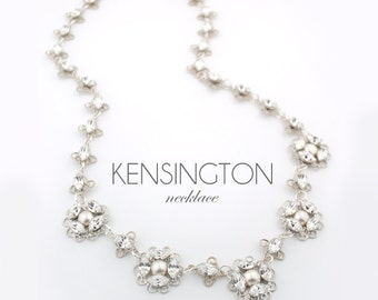 Pearl and crystal necklace - wedding day necklace - bridal necklace - Swarovski crystal - crystal and pearl necklace - Kensington necklace