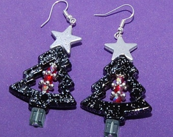 Decorated Christmas Tree & Star Earrings - LOWER PRICE