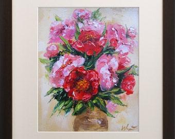Peony painting, Giclee art print, Floral artwork, Modern wall art, 8x10 print, Pink Flowers, Bouquet, Living room decor, Still life print