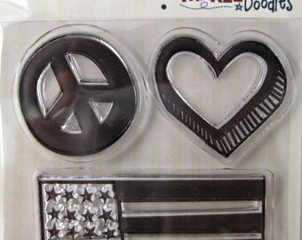 "We R Memory Keepers ""Peace And Love"" Yankee Doodles Clear Stamps, 3 Clear Acrylic Scrapbooking Stamps 3""x3"""
