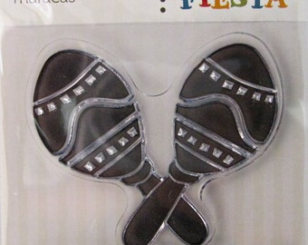 "We R Memory Keepers ""Maracas"" Fiesta Clear Stamps, 2 Clear Acrylic Scrapbooking Stamps 3""x3"""