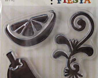 """We R Memory Keepers """"Lime"""" Fiesta Clear Stamps, 3 Clear Acrylic Scrapbooking Stamps 3""""x3"""""""