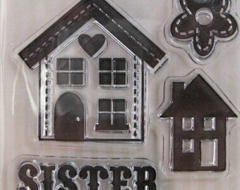"We R Memory Keepers ""Sister"" Family Keepsake Clear Stamps, 4 Clear Acrylic Scrapbooking Stamps 3""x3"""