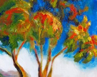 Original Impressionist Tree Oil Painting, San Diego County, California