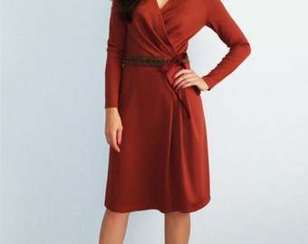 Оrange jersey dress Terracotta Autumn dress with long sleeves