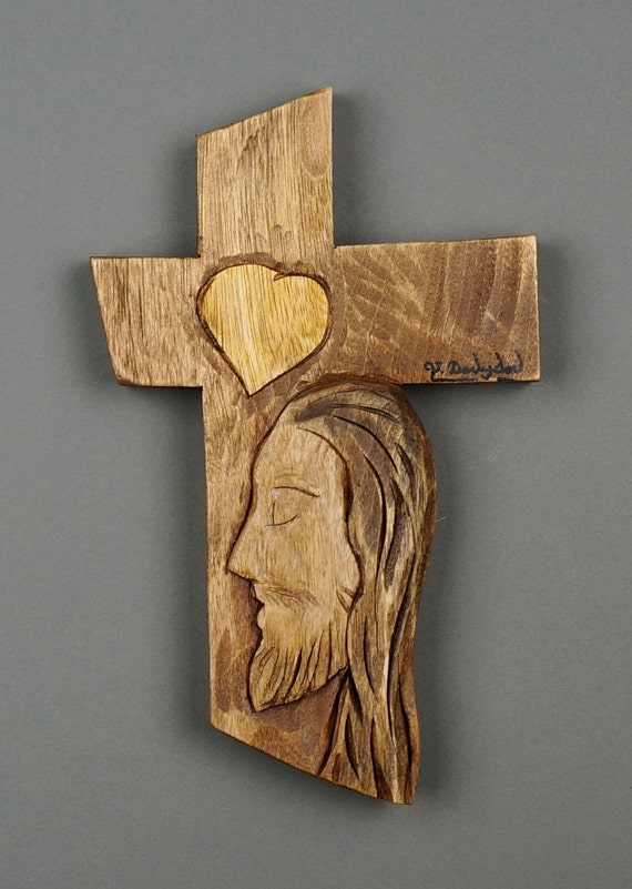 Wooden gift cross with christ stylized carved linden wood by