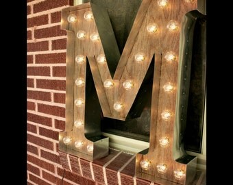 Light-up Letter M Sign - Rustic Industrial Marquee lighting w/ Metal, Distressed Wood & Vintage Light Bulb Letter Sign Wall Light
