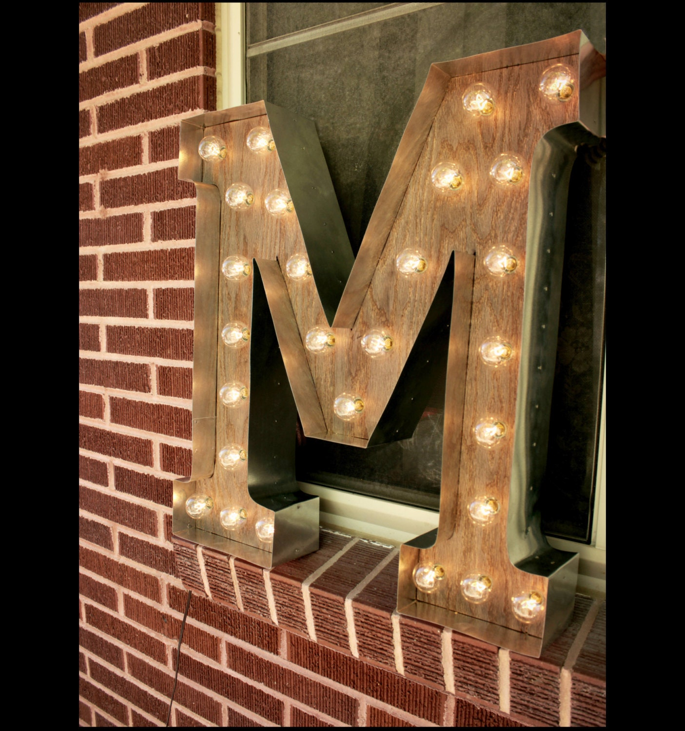 marquee light up letters light up letter m sign rustic industrial marquee lighting w 23581 | il fullxfull.831173927 mubq