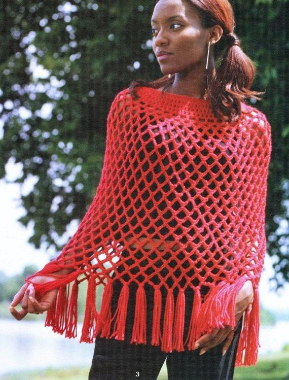 Items similar to Crochet Red Mesh Poncho, Crochet Shawl ...
