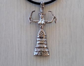 Minoan Snake Goddess necklace |Minoan jewelry |Minoan art |Cretan goddess |Mother goddess jewelry |Minoan religion jewelry