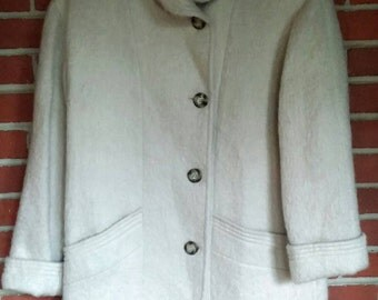 1960's Mohair coat Womens long creme coat