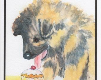 Birthday German Shepherd Puppy & Cupcake.  Inside Card:  Time to celebrate!