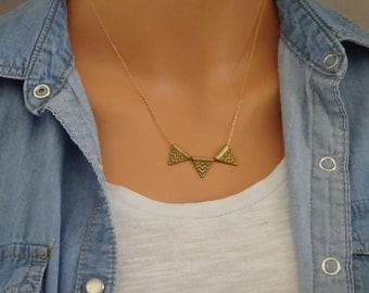 Triangle necklace, Floating Triangle pendant, Bohemian Necklace, Perfect Layering necklace, Geometric Brass Triangle Necklace