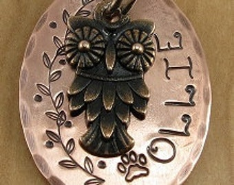 Dog Tag,Pet Id Tag,Dog ID Tag, Pet Tag, Pet Name Tags, Copper Owl Tag,Dog Name Tag