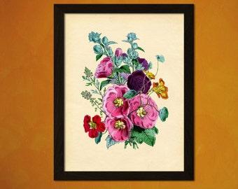 Hollyhocks Flower Print - Vintage Wall Decor Botanical Print Flower Print Garden Home Decor Romantic Floral Illustration Flower Art
