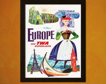 TWA Europe Travel Print 1960s - Vintage Travel Poster Tourism Advertising Art Reproduction Twa Poster Europe Poster   Reproduction