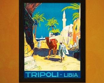 Vintage Libya Travel Print 20s-30s - Vintage Travel Poster Tourism Advertising Wall Decor Libya Poster Tripoli Poster  t