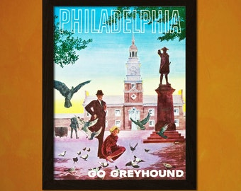 Vintage Philadelphia Travel Print 1950s - Vintage Travel Poster Tourism Wall Decor Philadelphia Poster Gift Idea  t