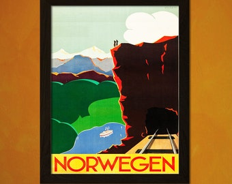 Vintage Norway Travel Print 1935 - Vintage Travel Poster Tourism Wall Decor Norway Poster Wall Art Gift Idea Norway Prints BUY 3 Get 1 FREE