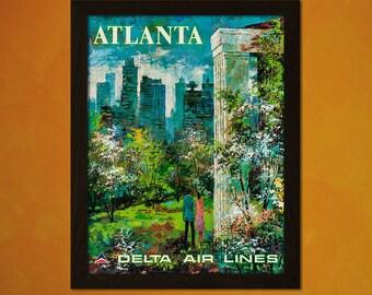 Atlanta Travel Print 1970s - Vintage Travel Poster Tourism Wall Decor Atlanta Poster Wall Decor Air Line Poster  t