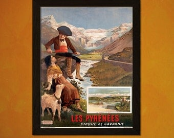 Pyrénées Travel Print Cirque de Gavarnie  - Vintage Travel Poster Art Reproduction Pyrénées Travel Poster Vintage Pyrénées   Reproduction