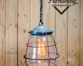 Reclaimed Industrial Explosion Proof Lamp Glass Dome bulb guard cage Pendant Light Industrial Style