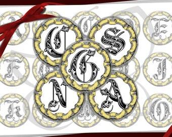 Vintage Ornate alphabet for Bottle Cap Images,pendants, necklace, scrapbooking 1 inch round circles
