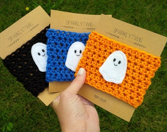 Fall Coffee Cup Cozy With Ghost, Halloween Crochet Coffee Cup Sleeve