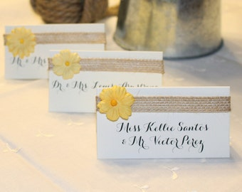 Wedding Place Cards Calligraphy Rehearsal Dinner Rustic Foldover Tent Escort