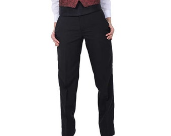 Women Plain Front Tuxedo Pants Black
