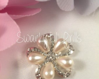 Flower Flatback Rhinestone, Pearl Flower Flatback, Crystal Pearl Flower, Invitations, Sewing Supplies,