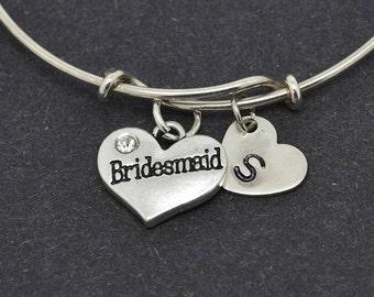 Bridesmaid Heart Bangle, Sterling Silver Bangle, Heart Bracelet, Bridesmaid Gift, Personalized Bracelet, Charm Bangle, Initial Bracelet