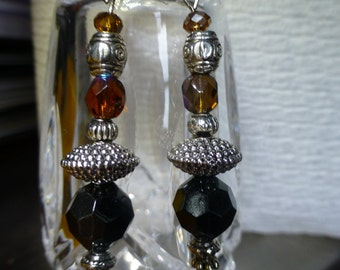 Amber and Black Earrings