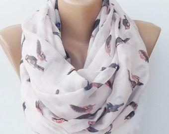 New - birds print scarf summer scarf loop scarf infinity scarf feather print scarf birds scarf