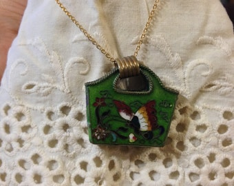 Vintage Green Butterfly Basket Pendant Necklace