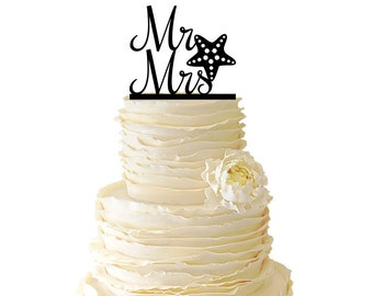Mr. And Mrs. With Starfish Acrylic or Baltic Birch Wedding/Special Event Cake Topper - 025