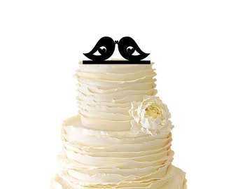 Two Love Birds Acrylic or Baltic Birch Wedding/Special Event Cake Topper - 005