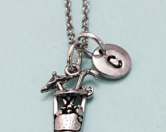 Lemonade necklace, lemonade charm, food necklace, personalized necklace, initial necklace, initial charm, monogram