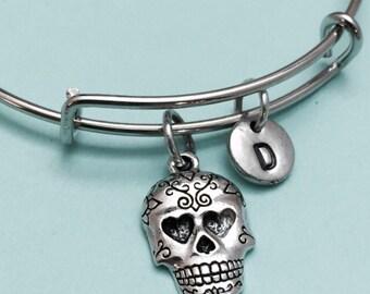 Sugar skull bangle, sugar skull charm bracelet, expandable bangle, personalized bracelet, initial bracelet, monogram