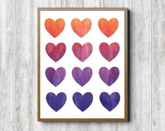 Watercolor Hearts Printable Wall Art - Ombre Hearts Collage Wall Decor - Nursery / Girls Room - Digital Artwork - Office - Orange /Pink