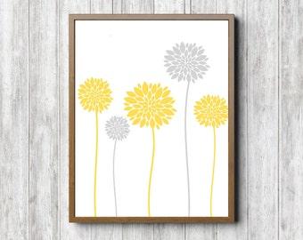 Instant Download - Dahlia Flower Printable Wall Art - Yellow & Gray - Office Wall Decor - Nursery Floral Art Print - Long Stemmed -