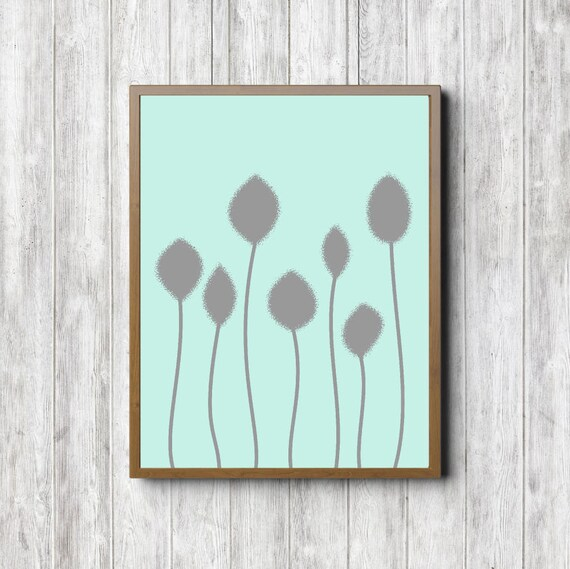 Long Stemmed Flower Printable Wall Decor Mint Green And Gray