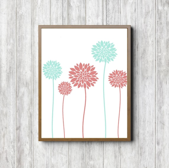Mint Green And Coral Dahlia Flower Printable Decor Poster